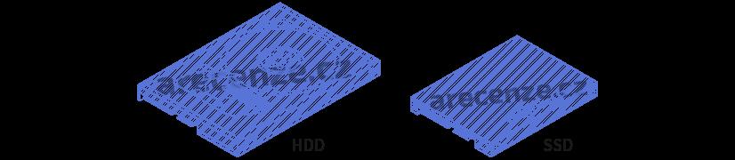 Obrázek zobrazuje vzhled hdd vs ssd disku