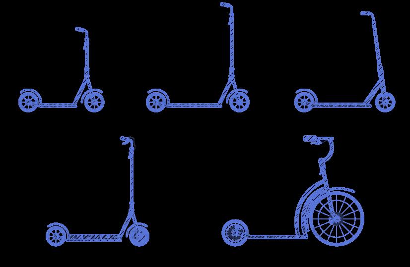 Schéma typů jednotlivých koloběžek