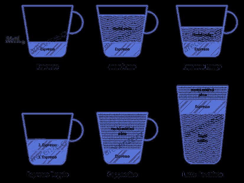 Obrázek zobrazuje druhy káv