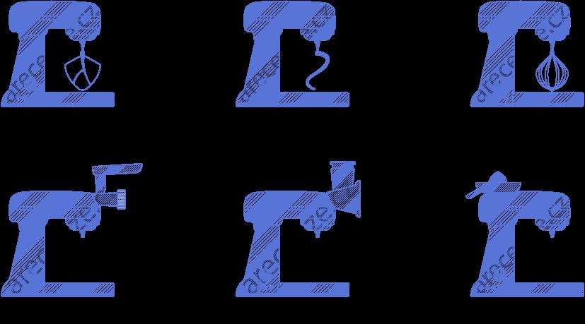 Obrázek zobrazuje typy hnětačů